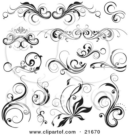 Collection Of Elegant Flourishes With Scrolling Vines, In Black And White Posters, Art Prints