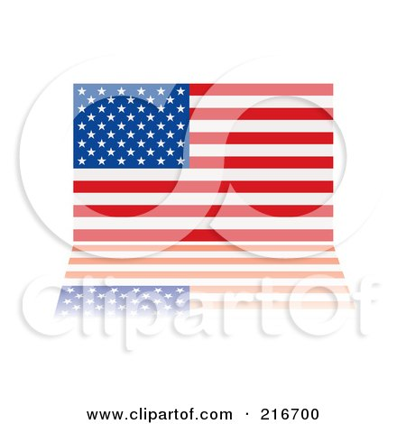 Royalty-Free (RF) Clipart Illustration of an American Flag With Its Stars And Stripes Reflecting by michaeltravers