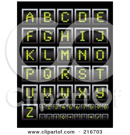 Royalty-Free (RF) Clipart Illustration of a Digital Collage Of Green Digital Board Letters, Numbers And Symbols by michaeltravers