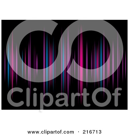 Royalty-Free (RF) Clipart Illustration of a Background Of Purple, Blue And Pink Equalizer Lines On Black by michaeltravers