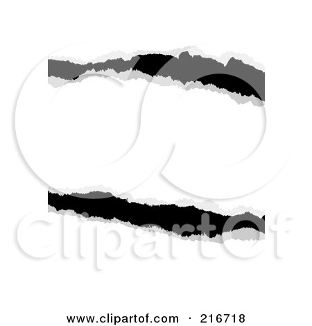 Royalty-Free (RF) Clipart Illustration Of Pieces Of Black And White Ripped Paper by michaeltravers