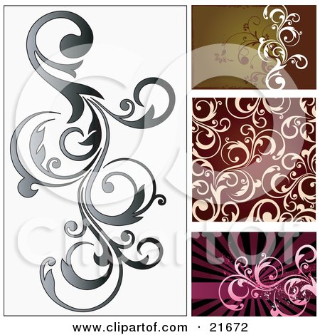 Vine Scrolling Over A White Background, With Brown, Red And Pink Versions Posters, Art Prints