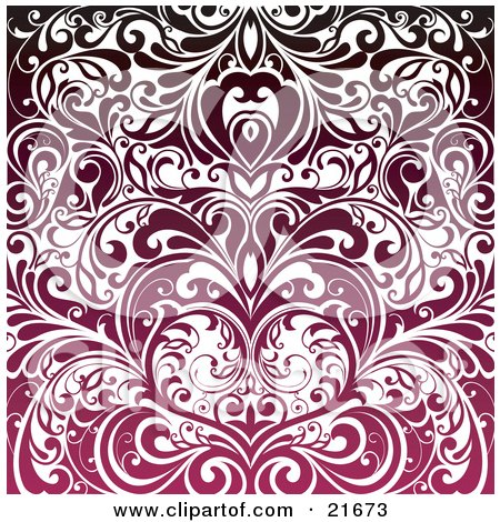 Clipart Picture Illustration of Elegant Vines Forming A Heart, In Gradient Pink To Red To Black Tones by OnFocusMedia