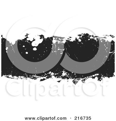 Royalty-Free (RF) Clipart Illustration of a Grungy Black Ink Splatter Banner On White by michaeltravers