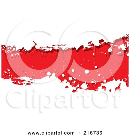 Royalty-Free (RF) Clipart Illustration of a Grungy Red Ink Splatter Banner On White by michaeltravers