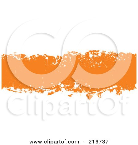 Royalty-Free (RF) Clipart Illustration of a Grungy Orange Ink Splatter Banner On White by michaeltravers