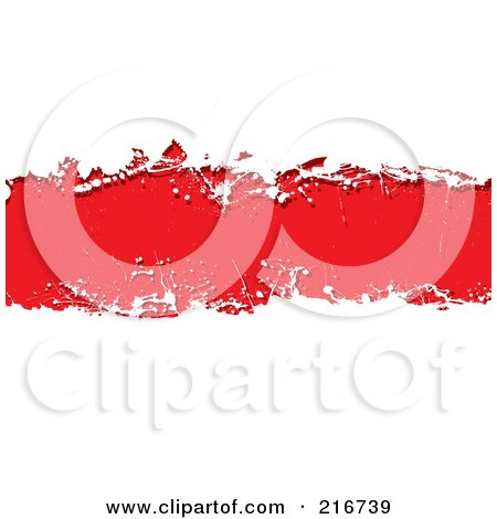 Royalty-Free (RF) Clipart Illustration of a Grungy Red Ink Splatter Banner Over White by michaeltravers
