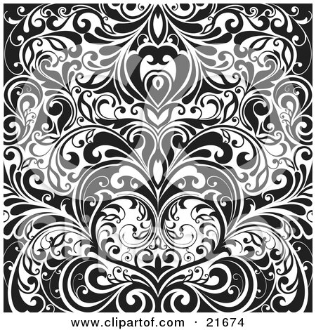 Clipart Picture Illustration of Elegant Vines Forming A Heart, In Black And White by OnFocusMedia