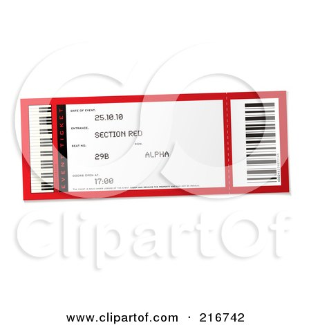 royalty free  rf  clipart illustration of a red and white Ticket Stub Template Movie Ticket Clip Art
