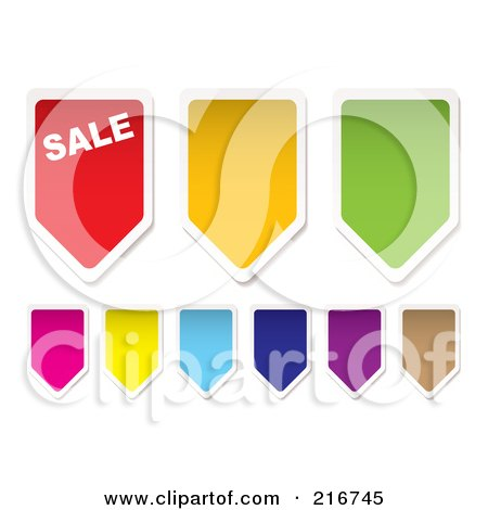 Royalty-Free (RF) Clipart Illustration of a Digital Collage Of Colorful Price Tag Banners by michaeltravers