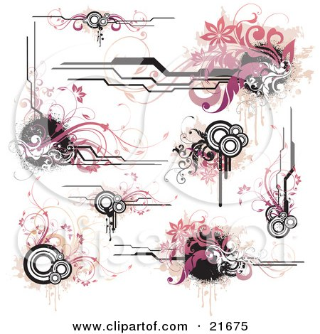 Clipart Picture Illustration Of A Collection Of Floral Banners Vines Corner Accents And Circles On A White Background