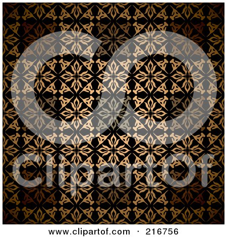 Royalty-Free (RF) Clipart Illustration of a Seamless Background Of Golden Victorian Styled Squares by michaeltravers
