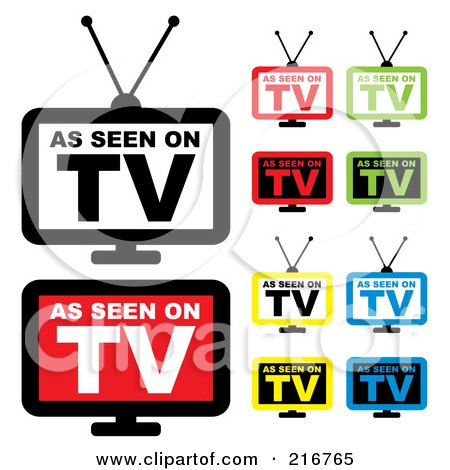 Royalty-Free (RF) Clipart Illustration of a Digital Collage Of Colorful As Seen On TV Icons by michaeltravers