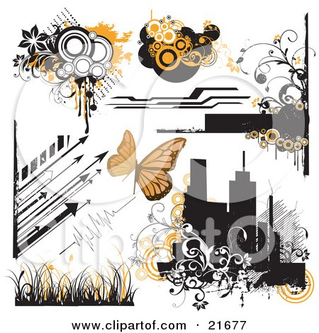 Clipart Picture Illustration Of A Collection Of Arrows Circles Flowers Vines Blank Banners Butterflies Grasses And Silhouetted City Buildings