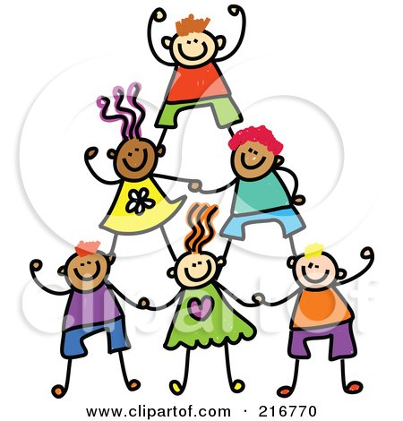 Royalty-Free (RF) Clipart Illustration of a Childs Sketch Of Human Pyramid Of Kids - 1