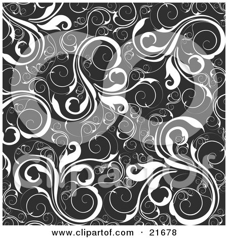 Clipart Picture Illustration of a Floral Background Of White Vines Over Black by OnFocusMedia