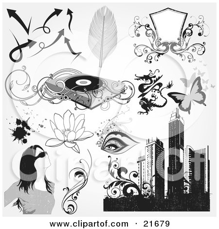 Clipart Picture Illustration of a Collection Of Arrows, Feathers, Blank Shield, Record Player, Dragon, Butterflies, Eyes, Lotus Flowers, Splatters, Woman, Vines And Skyscrapers by OnFocusMedia