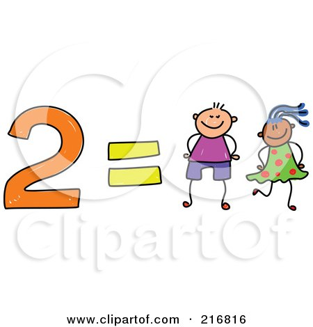 Royalty-Free (RF) Clipart Illustration of a Childs Sketch Of 2 Equals Two Kids by Prawny