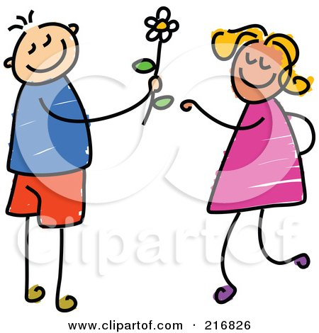 Royalty-Free (RF) Clipart Illustration of a Childs Sketch Of A Boy Giving A Daisy To A Girl by Prawny