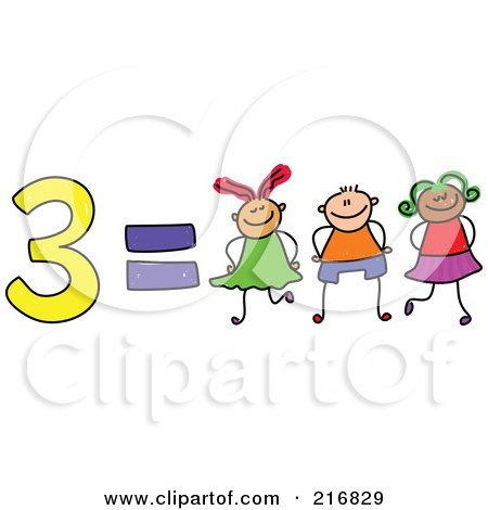 Royalty-Free (RF) Clipart Illustration of a Childs Sketch Of 3 Equals Three Kids by Prawny