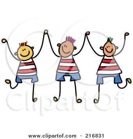 Royalty-Free (RF) Clipart Illustration of a Childs Sketch Of Three Boys Holding Up Their Hands by Prawny