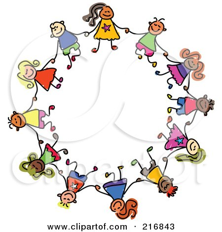 Royalty-Free (RF) Clipart Illustration of a Childs Sketch Of Boys And Girls In A Circle, Holding Hands by Prawny