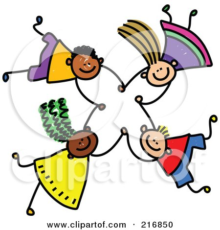 Royalty-Free (RF) Clipart Illustration of a Childs Sketch Of Four Kids Holding Hands While Falling - 5 Posters, Art Prints