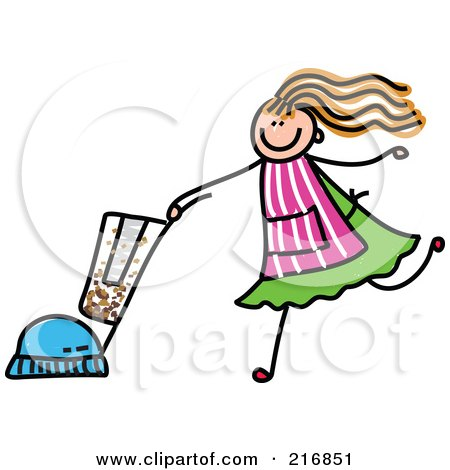 Royalty-Free (RF) Clipart Illustration of a Childs Sketch Of A Girl Vacuuming by Prawny
