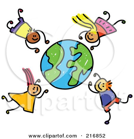 Royalty-Free (RF) Clipart Illustration of a Childs Sketch Of Boys And Girls Falling Around A Globe by Prawny