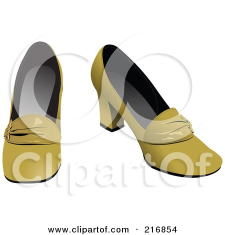 Royalty-Free (RF) Clipart Illustration of Retro Yellow Heeled Shoes by leonid
