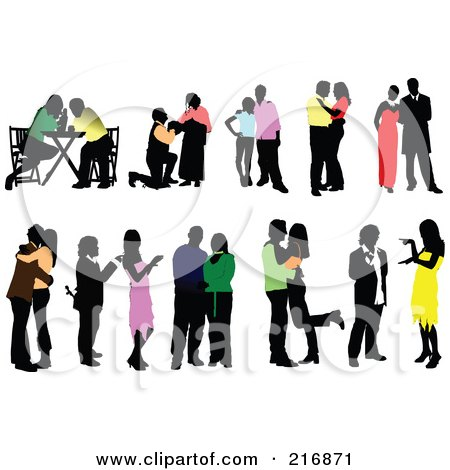Royalty-Free (RF) Clipart Illustration of a Digital Collage Of Silhouetted Couples In Colorful Clothes by leonid