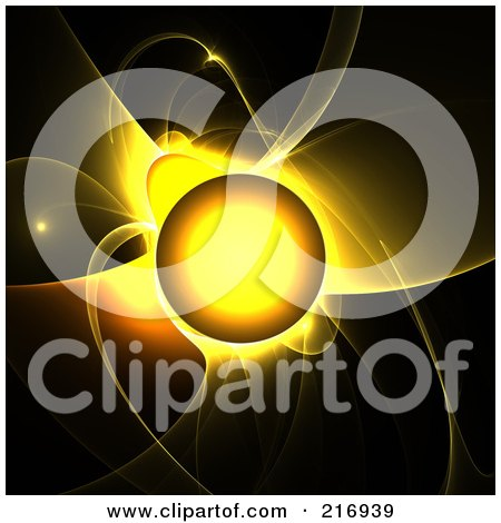 Royalty-Free (RF) Clipart Illustration of a Glowing Yellow Sun With Fractal Flares On Black by Arena Creative
