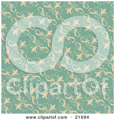 Vintage Turquoise Background Of Beige Flourishes Posters, Art Prints