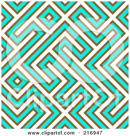 Royalty-Free (RF) Clipart Illustration of a Funky Seamless White, Turquoise And Brown Maze Background by Arena Creative