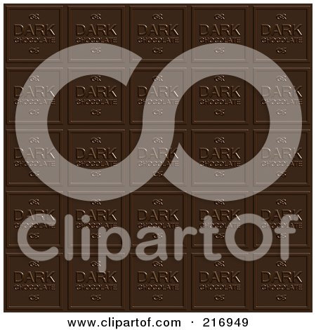 Royalty-Free (RF) Clipart Illustration of a Background Of Dark Chocolate Squares by Arena Creative