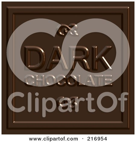 Royalty-Free (RF) Clipart Illustration of a Dark Chocolate Square With Text On It by Arena Creative