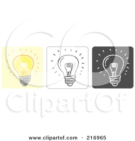 Royalty-Free (RF) Clipart Illustration of a Digital Collage Of Three Lightbulb Icons In Color, Sketch Style And Black And White by Qiun