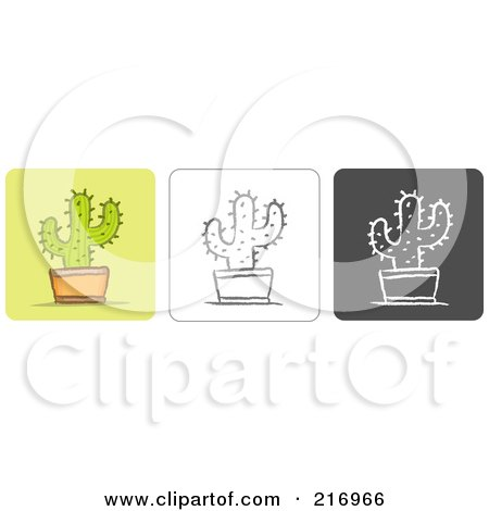 Royalty-Free (RF) Clipart Illustration of a Digital Collage Of Three Cactus Icons In Color, Sketch Style And Black And White by Qiun