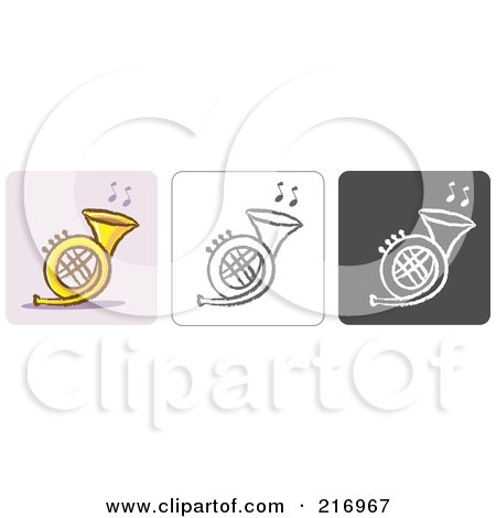 Royalty-Free (RF) Clipart Illustration of a Digital Collage Of Three Horn Icons In Color, Sketch Style And Black And White by Qiun