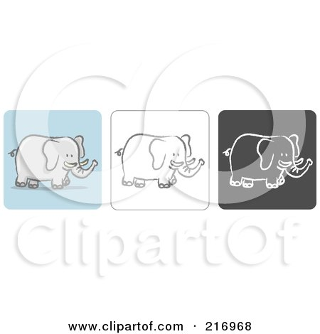 Royalty-Free (RF) Clipart Illustration of a Digital Collage Of Three Elephant Icons In Color, Sketch Style And Black And White by Qiun