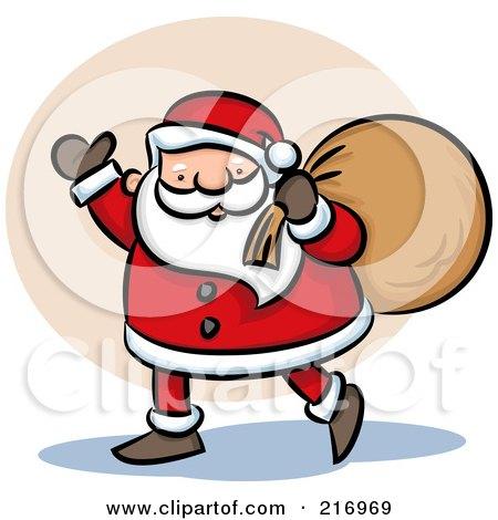 Royalty-Free (RF) Clipart Illustration of a Cartoon Santa Walking And Waving With His Bag by Qiun