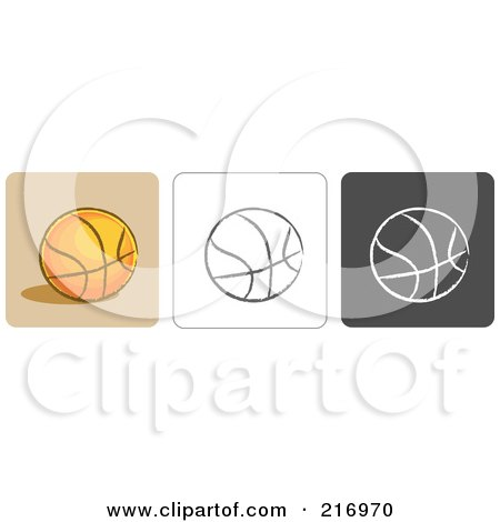 Royalty-Free (RF) Clipart Illustration of a Digital Collage Of Three Basketball Icons In Color, Sketch Style And Black And White by Qiun