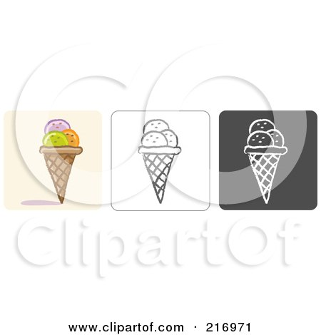 Royalty-Free (RF) Clipart Illustration of a Digital Collage Of Three Ice Cream Cone Icons In Color, Sketch Style And Black And White by Qiun