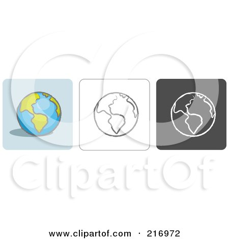 Royalty-Free (RF) Clipart Illustration of a Digital Collage Of Three Globe Icons In Color, Sketch Style And Black And White by Qiun