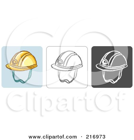 Royalty-Free (RF) Clipart Illustration of a Digital Collage Of Three Helmet Icons In Color, Sketch Style And Black And White by Qiun