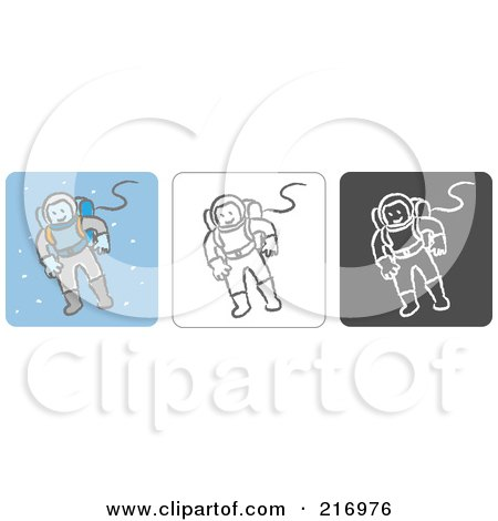 Royalty-Free (RF) Clipart Illustration of a Digital Collage Of Three Astronaut Icons In Color, Sketch Style And Black And White by Qiun