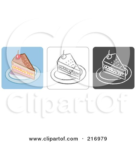 Royalty-Free (RF) Clipart Illustration of a Digital Collage Of Three Cake Icons In Color, Sketch Style And Black And White by Qiun