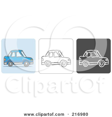 Royalty-Free (RF) Clipart Illustration of a Digital Collage Of Three Car Icons In Color, Sketch Style And Black And White by Qiun