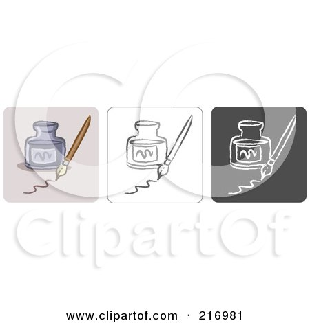 Royalty-Free (RF) Clipart Illustration of a Digital Collage Of Three Ink Icons In Color, Sketch Style And Black And White by Qiun
