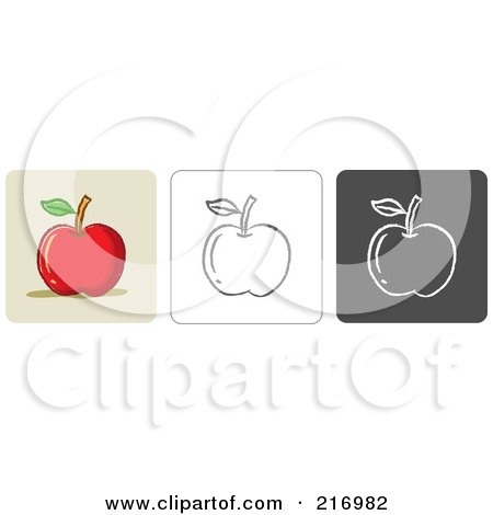 Royalty-Free (RF) Clipart Illustration of a Digital Collage Of Three Apple Icons In Color, Sketch Style And Black And White by Qiun